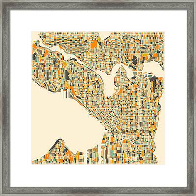 Seattle Map Framed Print by Jazzberry Blue