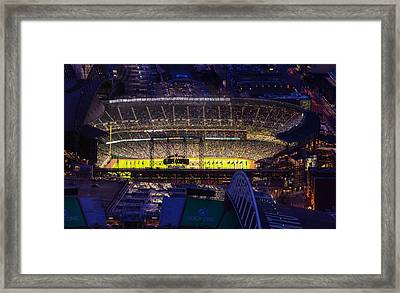 Seattle Mariners Safeco Field Night Game Framed Print by Mike Reid