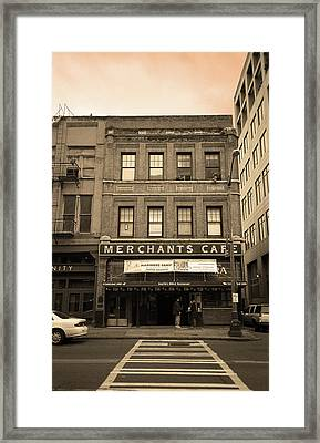 Seattle - Merchants Cafe Sepia Framed Print by Frank Romeo
