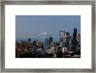 Seattle-mt. Rainier In The Morning Light .1 Framed Print