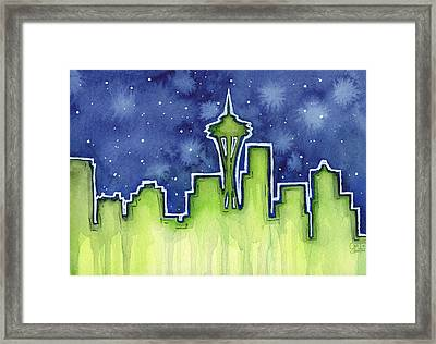 Seattle Night Sky Watercolor Framed Print