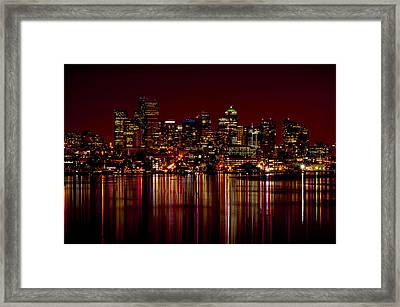 Seattle Nightscape Framed Print by Rich Leighton