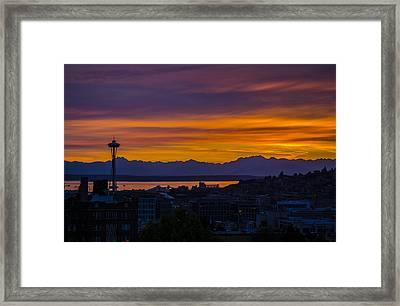 Seattle Olympic Mountain Range Sunset Framed Print