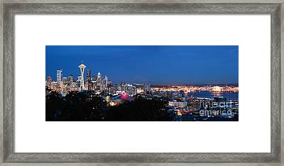 Seattle Panorama At Twilight Framed Print