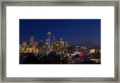 Seattle Seahawks Space Needle Framed Print by Mary Jo Allen