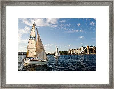 Seattle Silos Sail Framed Print by Tom Dowd