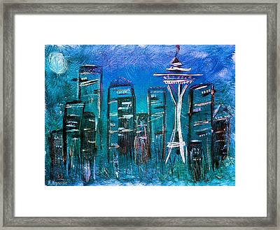 Seattle Skyline 2 Framed Print by Melisa Meyers