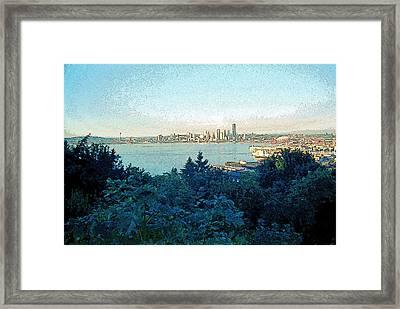 Seattle Skyline 2 Framed Print by Steve Ohlsen