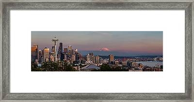 Framed Print featuring the photograph Seattle Skyline And Mt. Rainier Panoramic Hd by Adam Romanowicz