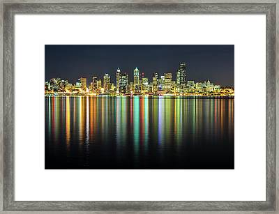 Seattle Skyline At Night Framed Print by Hai Huu Thanh Nguyen