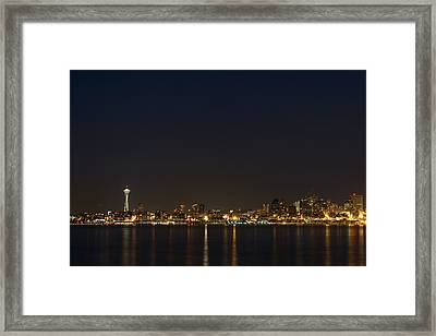 Seattle Skyline At Night Framed Print by Stacey Lynn Payne