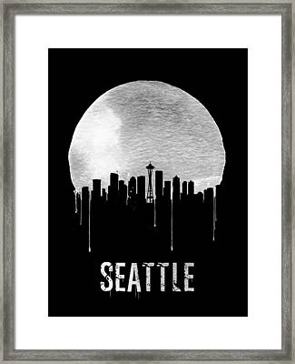 Seattle Skyline Black Framed Print by Naxart Studio