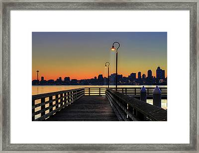 Seattle Skyline From The Alki Beach Seacrest Park Framed Print by David Gn Photography