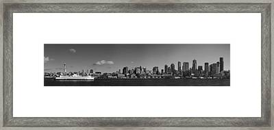 Seattle Skyline In Black And White Framed Print by Twenty Two North Photography