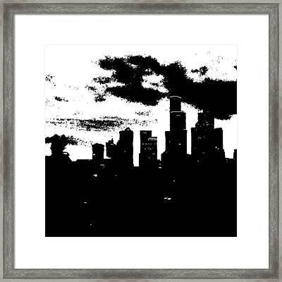 Seattle Skyline In B&w #enlight Framed Print