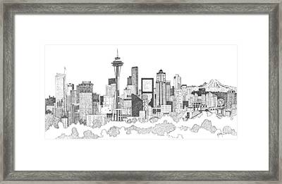 Seattle Skyline Ink Drawing Framed Print by Marilyn Smith