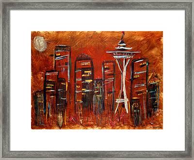 Seattle Skyline Framed Print by Melisa Meyers