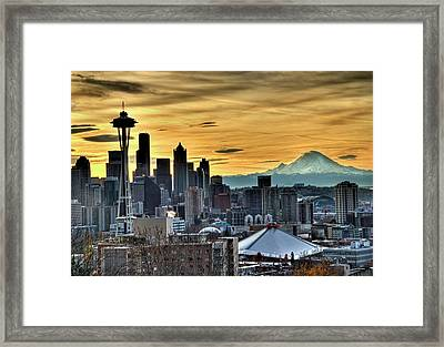 Seattle Skyline - Mt Rainier Framed Print