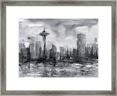Seattle Skyline Painting Watercolor  Framed Print by Olga Shvartsur