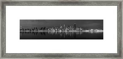 Seattle Skyline Panorama Framed Print by Wesley Allen Shaw