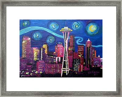 Starry Night In Seattle - Van Gogh Inspirations With Space Needle And Skyline Framed Print