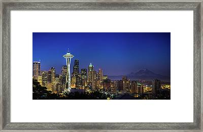 Seattle Skyline Framed Print by Sebastian Schlueter (sibbiblue)