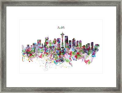 Seattle Skyline Silhouette Framed Print by Marian Voicu