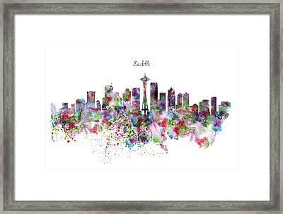 Seattle Skyline Silhouette Framed Print