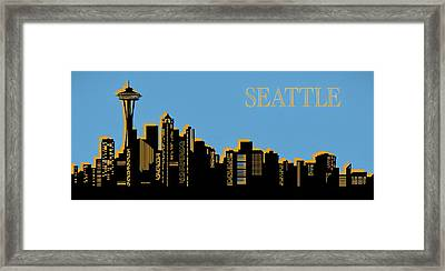 Seattle Skyline Silhouette Pop Art Framed Print