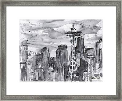 Seattle Skyline Space Needle Framed Print by Olga Shvartsur