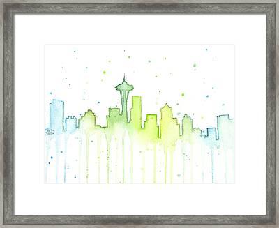 Seattle Skyline Watercolor  Framed Print by Olga Shvartsur