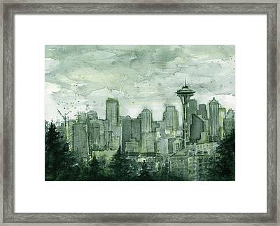 Seattle Skyline Watercolor Space Needle Framed Print by Olga Shvartsur