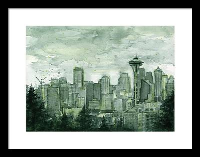 Seattle Skyline Framed Prints