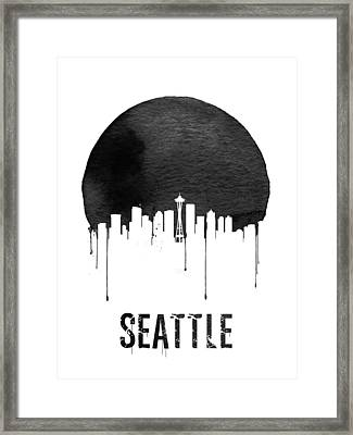 Seattle Skyline White Framed Print by Naxart Studio