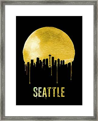 Seattle Skyline Yellow Framed Print by Naxart Studio