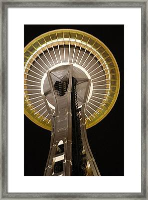 Seattle Space Needle At Night Framed Print by Davida Parker