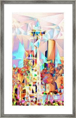 Framed Print featuring the photograph Seattle Space Needle In Abstract Cubism 20170327 by Wingsdomain Art and Photography