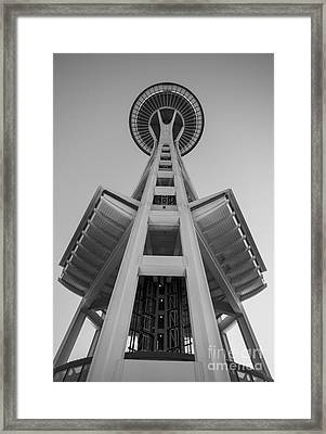 Seattle Space Needle In Black And White Framed Print