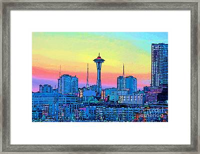 Seattle Space Needle Framed Print by RJ Aguilar
