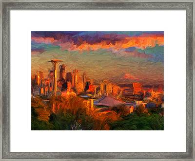 Seattle Sunset 1 Framed Print by Caito Junqueira