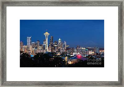 Framed Print featuring the photograph Seattle Twight by Peter Simmons