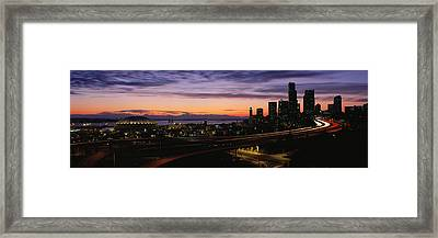 Seattle, Washington Skyline At Sunset Framed Print by Panoramic Images