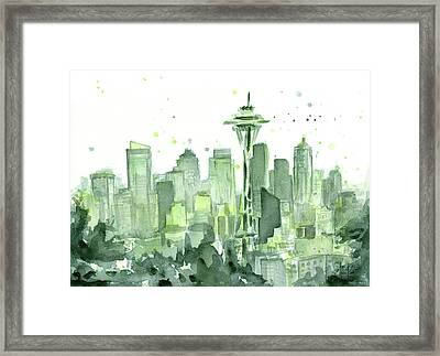 Seattle Watercolor Framed Print