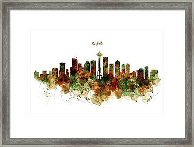 Framed Print featuring the mixed media Seattle Watercolor Skyline Poster by Marian Voicu
