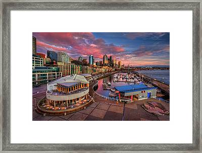 Seattle Waterfront At Sunset Framed Print by Photo by David R irons Jr