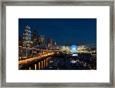 Seattle Waterfront Cosmic Rays Framed Print