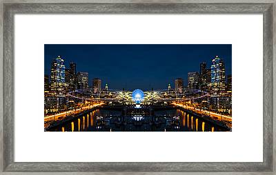 Seattle Waterfront Cosmic Rays Reflection Framed Print