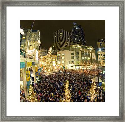 Framed Print featuring the photograph Seattle Westlake Tree Lighting by Peter Simmons