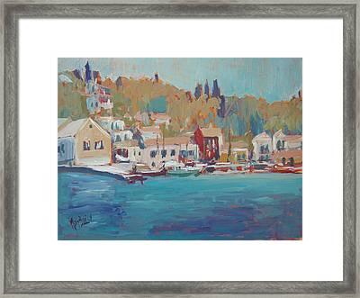 Seaview Lggos Paxos Framed Print by Nop Briex