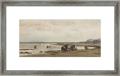 Seaweed Gatherers On The Shore At Redcar Framed Print by MotionAge Designs